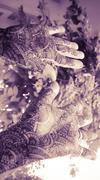 hands with mehandi - vintage look - stock photo