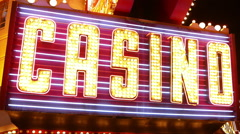Big Casino writing neon lights in Las Vegas Stock Footage