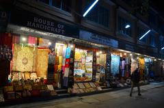 Stock Photo of Street Thamel Market for shopping and selling at night time