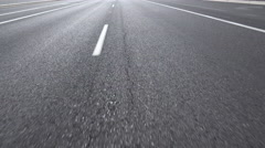 4K Shimmering Asphalt Old Lonely Empty Road Driving Close Up Stock Footage