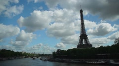 Eiffel Tower - La Seine Stock Footage