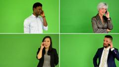 4K compilation (montage) - people phone with smartphone - green screen studio - stock footage