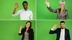 4K compilation (montage) - people wave with hand - green screen studio - stock footage