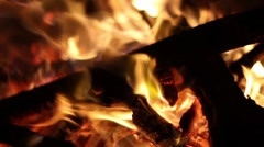 Roaring Campfire Extreme Close Up - Handheld - 50 Frames Stock Footage