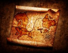 old treasure map on grunge background - stock illustration