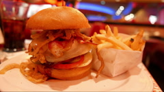 Typical American Burger in a diner Stock Footage