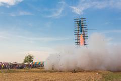 Bun Bang Fai, E-San of festival, Torpedo of Thailand. - stock photo