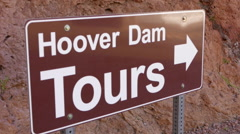 Sign Hoover Dam Tours at Hoover Dam Nevada - stock footage