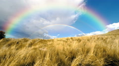 Double Rainbow And Field Time Lapse 4K UHD - stock footage