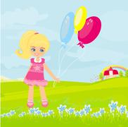 Happy little girl with balloons. - stock illustration