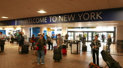 Welcome to New York sign at La Guardia Airport Stock Footage