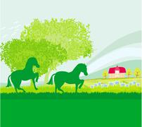 Horses in field  Stock Illustration