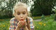 Girl blowing blowball Stock Footage