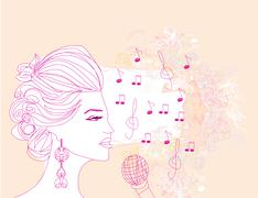 Hand drawn girl singing a song on a floral background Stock Illustration