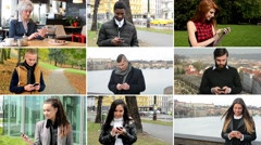 4K compilation (montage) - multicultural people work on mobile phone... - stock footage
