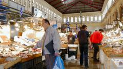 Athens Central Market Panning Shot of Fish Section - stock footage