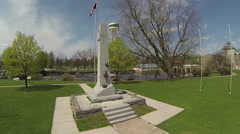Aerial of Canadian War Memorial in Small Town Stock Footage
