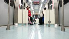 Inside moving metro train, view from floor, empty wagon Stock Footage