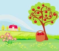 Stock Illustration of apple tree and cottage , landscape