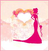 Abstract Beautiful floral bride card Stock Illustration