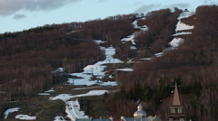 Quebec Ski Hill - Northern Resort with melting snow Stock Footage