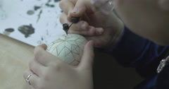 Traditional hand-painted Easter eggs. Wax patterns and colors on the eggs. Stock Footage