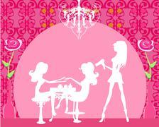 Illustration of the beautiful woman in beauty salon Stock Illustration