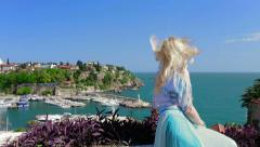 Lady enjoys beautiful Antalya view. Stock Footage