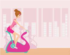 Stock Illustration of Indoor Cycling - Girls cycling at Gym