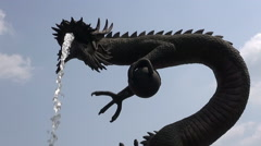 Dragon Shaped Fountain Stock Footage