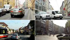 4K compilation (montage) - urban streets with people, cars - modern buildings Stock Footage