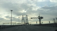 County highway. Cable-stayed bridge. Stock Footage