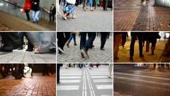 4K compilation (montage) - people walking - commuter people - closeup legs - stock footage