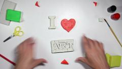 I love art sign stop motion animation 4k (4096x2304) Stock Footage