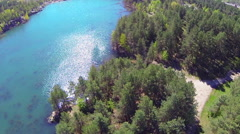 Flooded quarry. The view from the heights. Rotation. Stock Footage