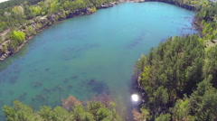 Flooded quarry. The view from the heights. Stock Footage