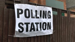 Sign outside a polling station during the 7th May 2015 UK General Election. Stock Footage