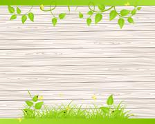 Wood fence  with grass Stock Illustration