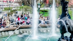 Crowds of Tourists in a Moscow Park on a Sunny Day Stock Footage