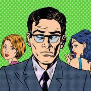 Man chooses between two women relationships love emotion pop art Stock Illustration