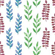 Stock Illustration of Seamless hand painted green herb pattern