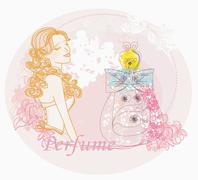 Abstract woman and bottle of perfume with a floral aroma - stock illustration
