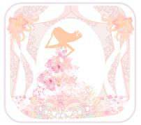 Abstract Beautiful floral bride - silhouette woman - stock illustration