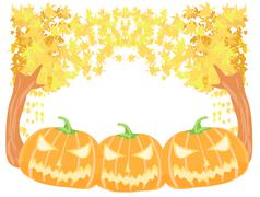 Halloween pumpkins with fall leaves - stock illustration