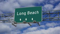 4K Animated highway road sign of Long Beach Stock Footage