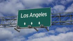 4K Animated highway road sign of Los Angeles Stock Footage
