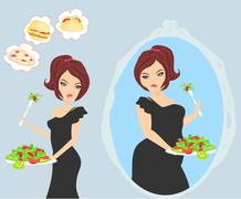 unhappy girl is looking at herself in the mirror - stock illustration