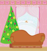 Fashionable interior of living room with Christmas tree - stock illustration