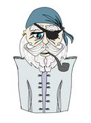 Old pirate captain , doodle portrait - stock illustration