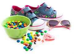 children's stuff and sweets - stock photo